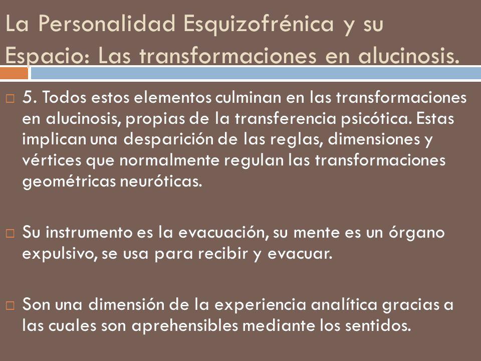 La Personalidad Esquizofrénica y su Espacio: Las transformaciones en alucinosis. 5. Todos estos elementos culminan en las transformaciones en alucinos