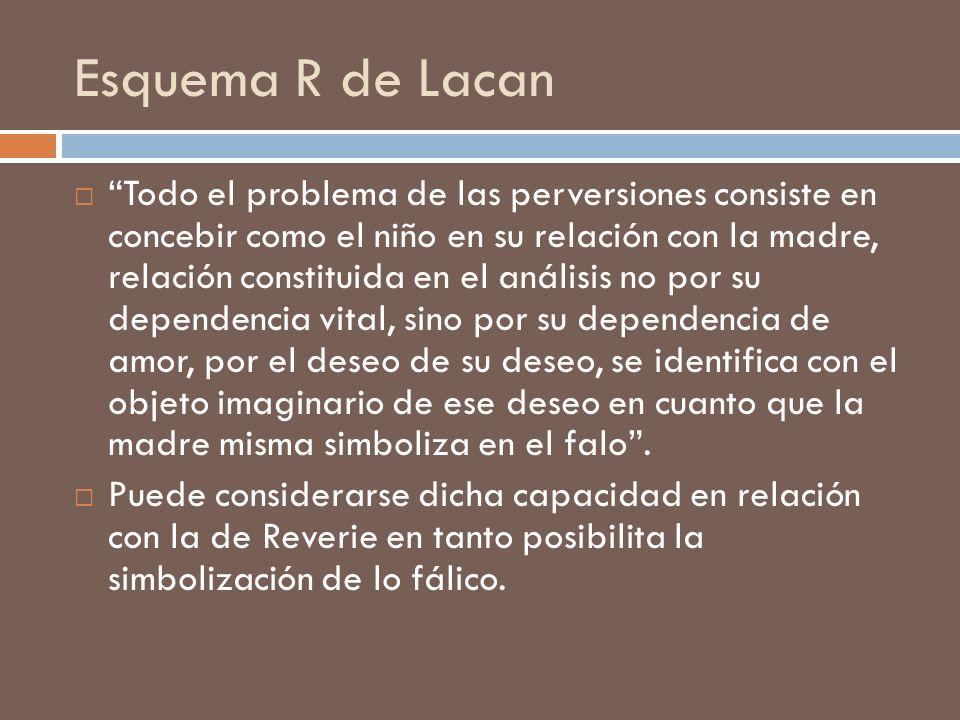 Esquema R de Lacan Todo el problema de las perversiones consiste en concebir como el niño en su relación con la madre, relación constituida en el anál