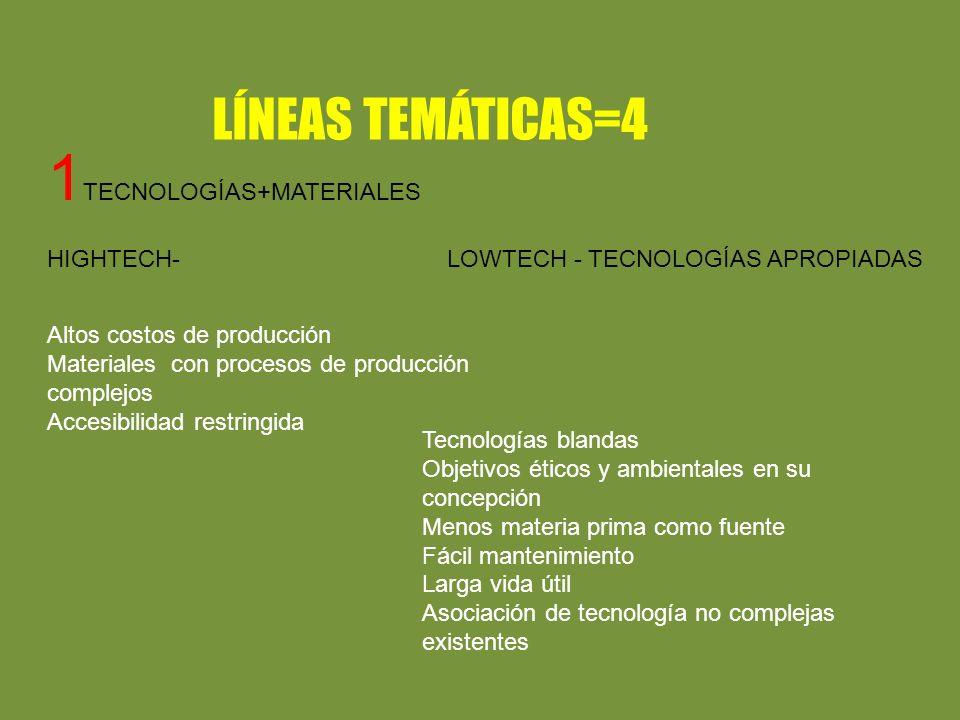 LÍNEAS TEMÁTICAS=4 1 TECNOLOGÍAS+MATERIALES HIGHTECH- LOWTECH - TECNOLOGÍAS APROPIADAS Altos costos de producción Materiales con procesos de producción complejos Accesibilidad restringida Tecnologías blandas Objetivos éticos y ambientales en su concepción Menos materia prima como fuente Fácil mantenimiento Larga vida útil Asociación de tecnología no complejas existentes