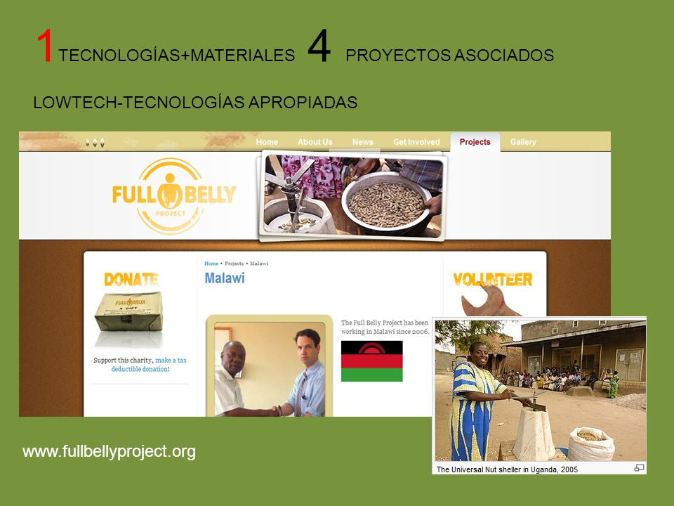 1 TECNOLOGÍAS+MATERIALES 4 PROYECTOS ASOCIADOS LOWTECH-TECNOLOGÍAS APROPIADAS www.fullbellyproject.org
