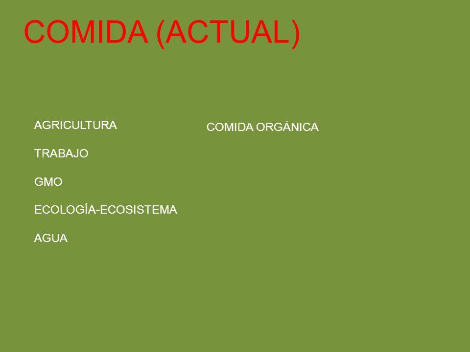 COMIDA (ACTUAL) AGRICULTURA TRABAJO GMO ECOLOGÍA-ECOSISTEMA AGUA COMIDA ORGÁNICA