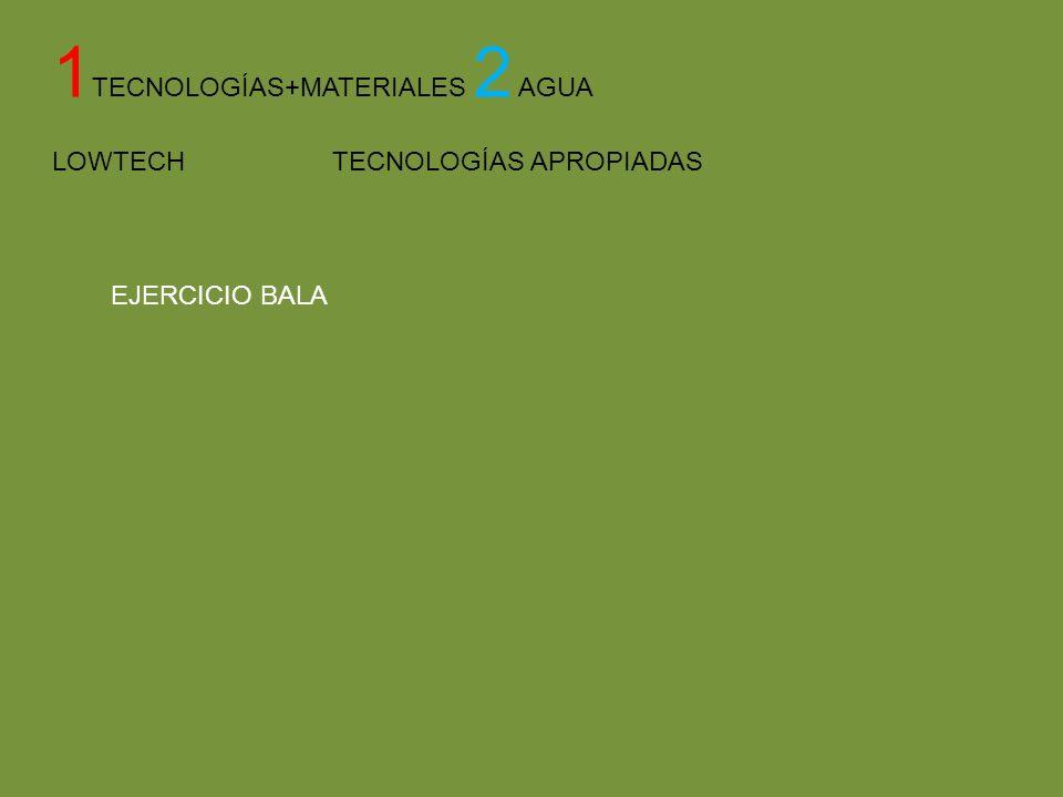 1 TECNOLOGÍAS+MATERIALES 2 AGUA LOWTECH TECNOLOGÍAS APROPIADAS EJERCICIO BALA