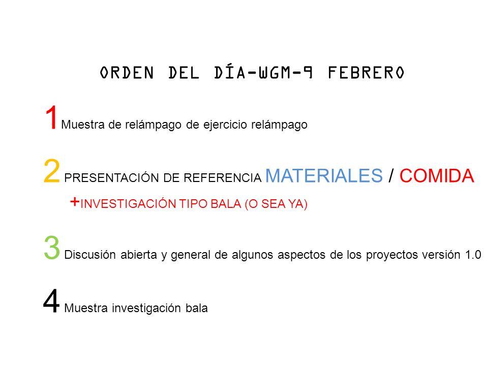 ORDEN DEL DÍA-WGM-9 FEBRERO 1 Muestra de relámpago de ejercicio relámpago 2 PRESENTACIÓN DE REFERENCIA MATERIALES / COMIDA + INVESTIGACIÓN TIPO BALA (O SEA YA) 3 Discusión abierta y general de algunos aspectos de los proyectos versión 1.0 4 Muestra investigación bala