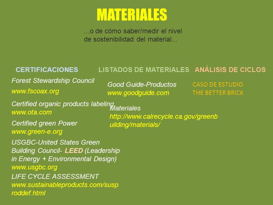 MATERIALES...o de cómo saber/medir el nivel de sostenibilidad del material...