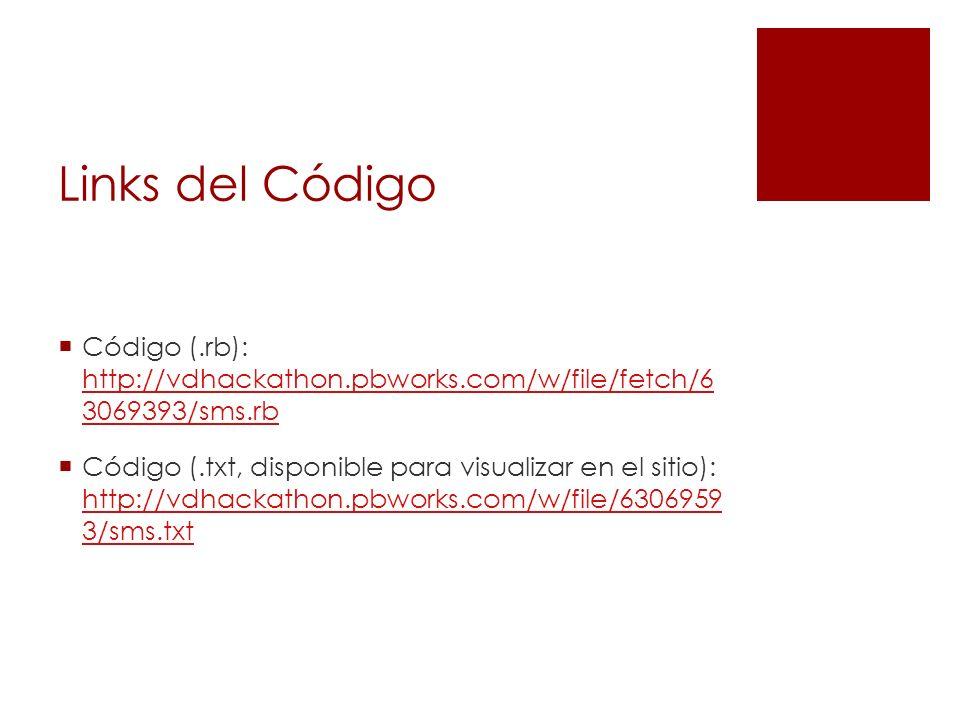 Links del Código Código (.rb): http://vdhackathon.pbworks.com/w/file/fetch/6 3069393/sms.rb http://vdhackathon.pbworks.com/w/file/fetch/6 3069393/sms.