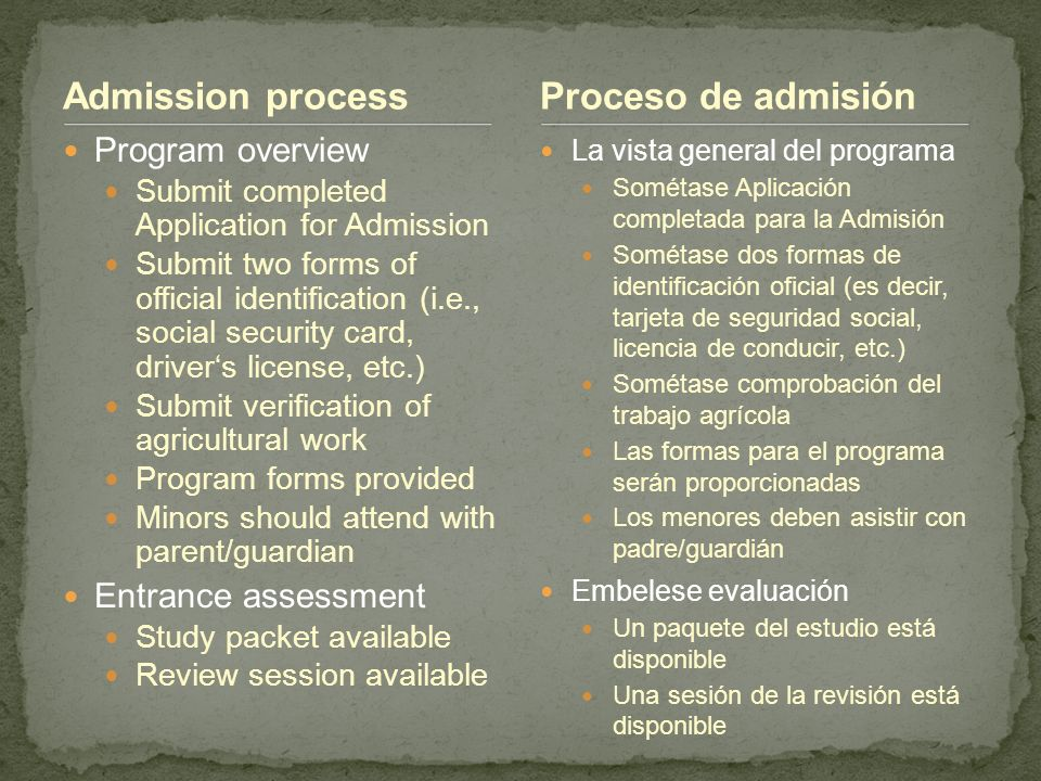 Admission process Program overview Submit completed Application for Admission Submit two forms of official identification (i.e., social security card,