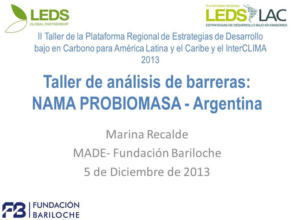 Taller de análisis de barreras: NAMA PROBIOMASA - Argentina Marina Recalde MADE- Fundación Bariloche 5 de Diciembre de 2013 II Taller de la Plataforma Regional de Estrategias de Desarrollo bajo en Carbono para América Latina y el Caribe y el InterCLIMA 2013