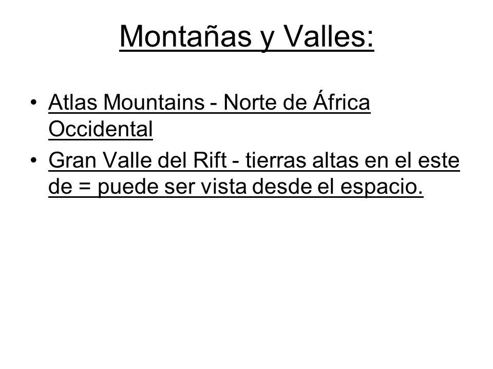 Montañas y Valles: Atlas Mountains - Norte de África Occidental Gran Valle del Rift - tierras altas en el este de = puede ser vista desde el espacio.