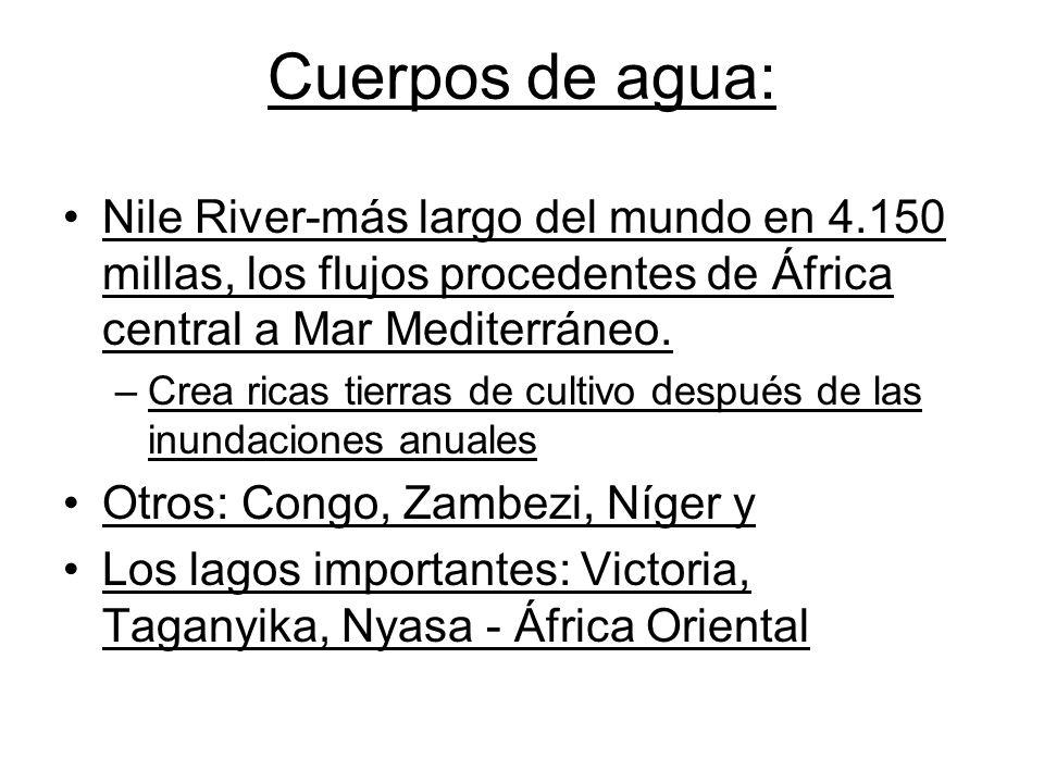 Cuerpos de agua: Nile River-más largo del mundo en 4.150 millas, los flujos procedentes de África central a Mar Mediterráneo.