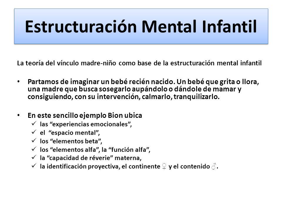 Estructuración Mental Infantil La teoría del vínculo madre-niño como base de la estructuración mental infantil Partamos de imaginar un bebé recién nacido.