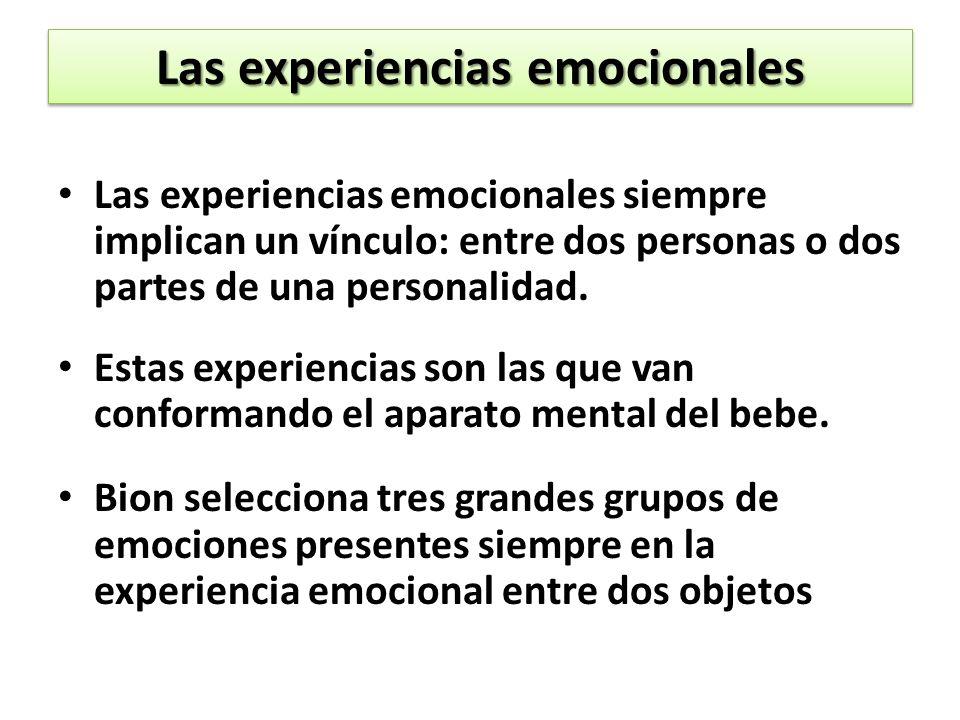 Las experiencias emocionales Las experiencias emocionales siempre implican un vínculo: entre dos personas o dos partes de una personalidad.