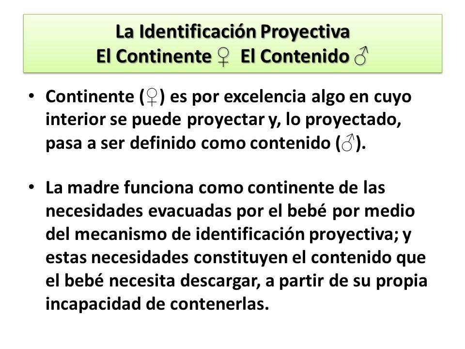 La Identificación Proyectiva El Continente El Contenido La Identificación Proyectiva El Continente El Contenido Continente ( ) es por excelencia algo en cuyo interior se puede proyectar y, lo proyectado, pasa a ser definido como contenido ( ).