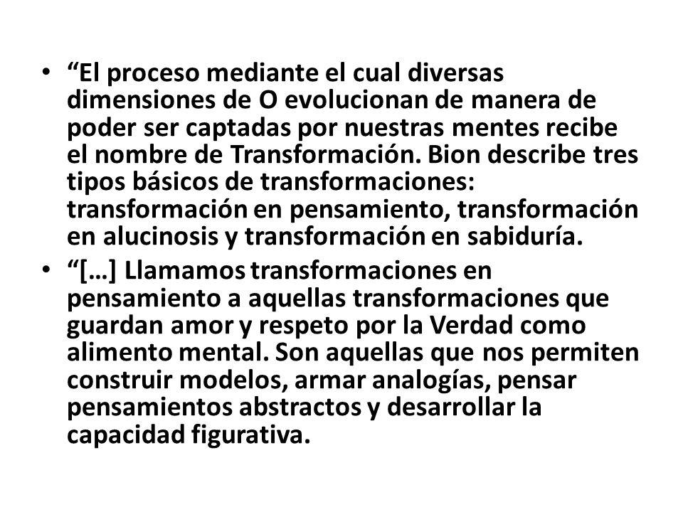 El proceso mediante el cual diversas dimensiones de O evolucionan de manera de poder ser captadas por nuestras mentes recibe el nombre de Transformación.