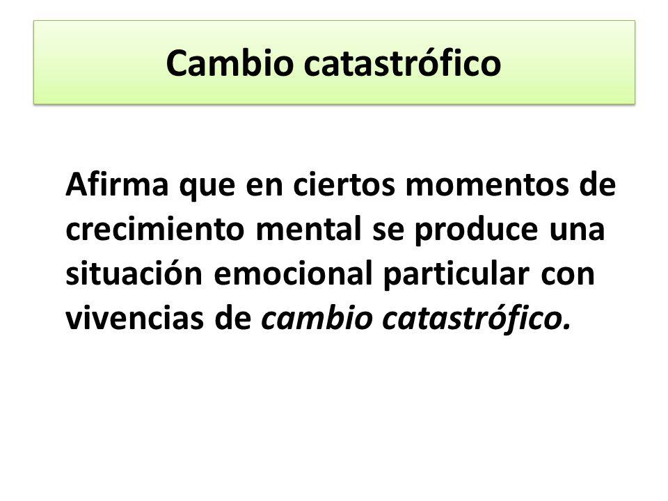 Cambio catastrófico Afirma que en ciertos momentos de crecimiento mental se produce una situación emocional particular con vivencias de cambio catastrófico.