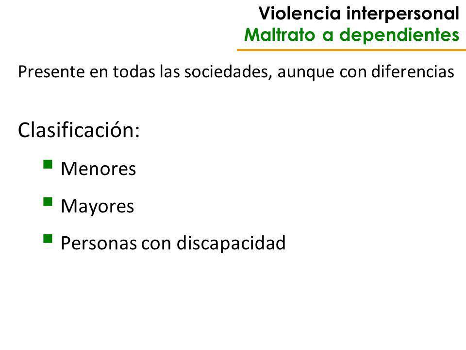 Violencia interpersonal Maltrato a dependientes Presente en todas las sociedades, aunque con diferencias Clasificación: Menores Mayores Personas con discapacidad