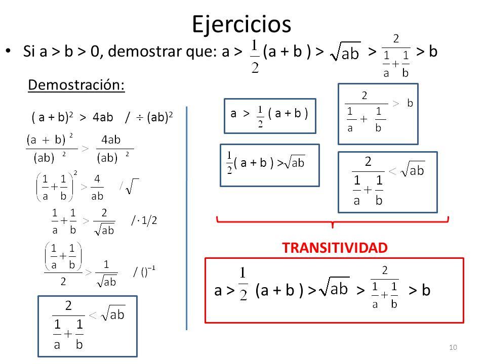 Ejercicios Si a > b > 0, demostrar que: a > (a + b ) > > > b Demostración: ( a + b) 2 > 4ab / (ab) 2 a > ( a + b ) ( a + b ) > TRANSITIVIDAD a > (a +