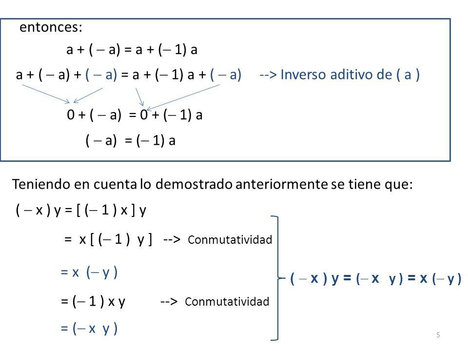 entonces: a + ( a) = a + ( 1) a a + ( a) + ( a) = a + ( 1) a + ( a) --> Inverso aditivo de ( a ) 0 + ( a) = 0 + ( 1) a ( a) = ( 1) a Teniendo en cuent