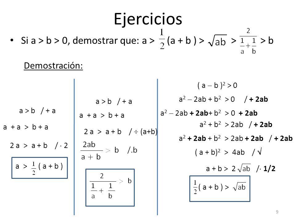 Ejercicios Si a > b > 0, demostrar que: a > (a + b ) > > > b Demostración: a > b / + a a + a > b + a 2 a > a + b / 2 a > ( a + b ) ( a b ) 2 > 0 a 2 2
