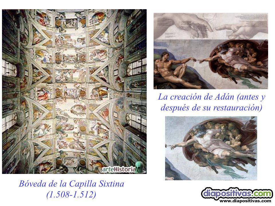 Bóveda de la Capilla Sixtina (1.508-1.512) La creación de Adán (antes y después de su restauración)