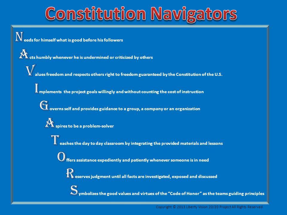Constitution Defender Region 1 Constitution Guide Constitution Navigator 1 C-BORGs (Constitution-Bill of Rights) Graduate Supporters Future Voters Constitution Navigator 2 C-BORGs (Constitution-Bill of Rights) Graduate Supporters Future Voters Constitution Navigator 3, etc.
