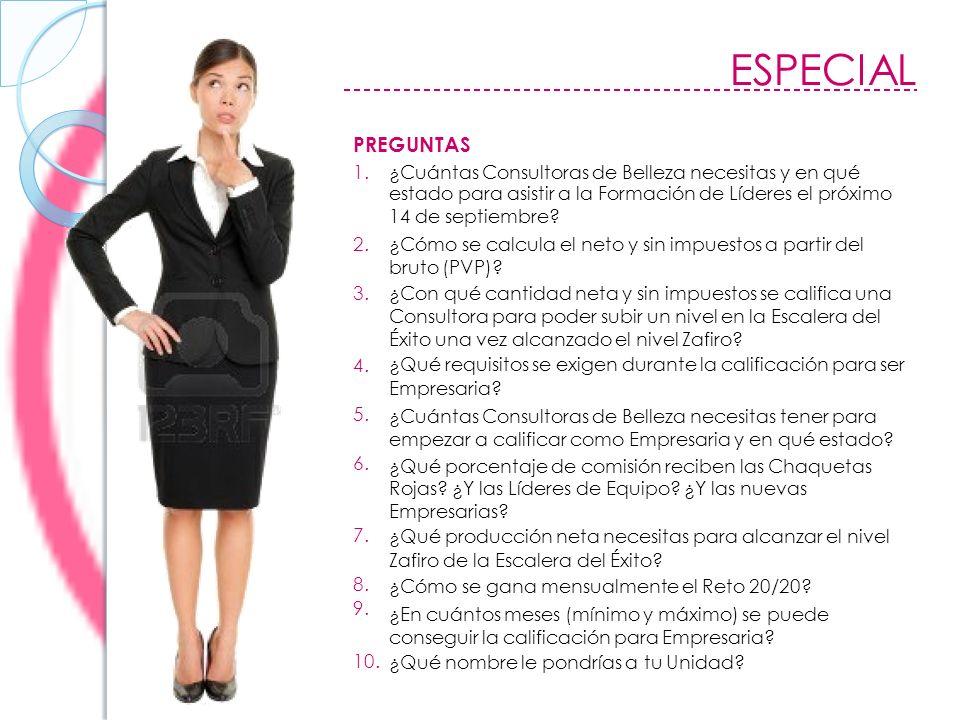 ESPECIAL PREGUNTAS 1.¿Cuántas Consultoras de Belleza necesitas y en qué estado para asistir a la Formación de Líderes el próximo 14 de septiembre.