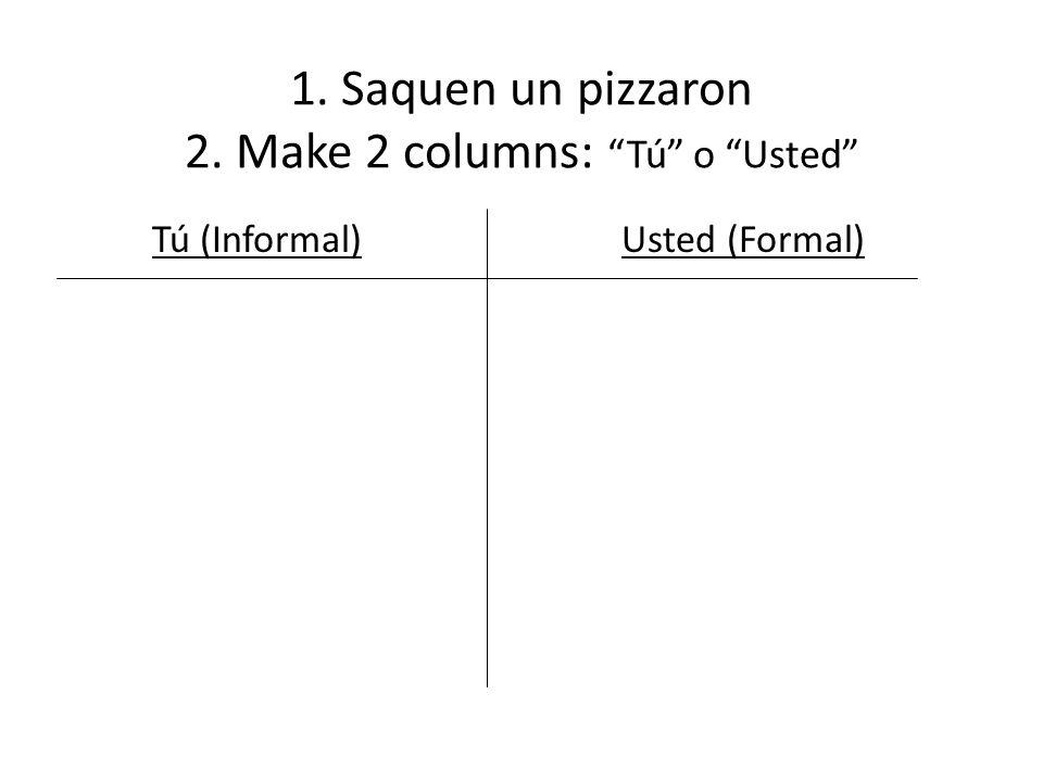 List under the correct column: 1.Buenos dias, señor, ¿Cómo está, usted.