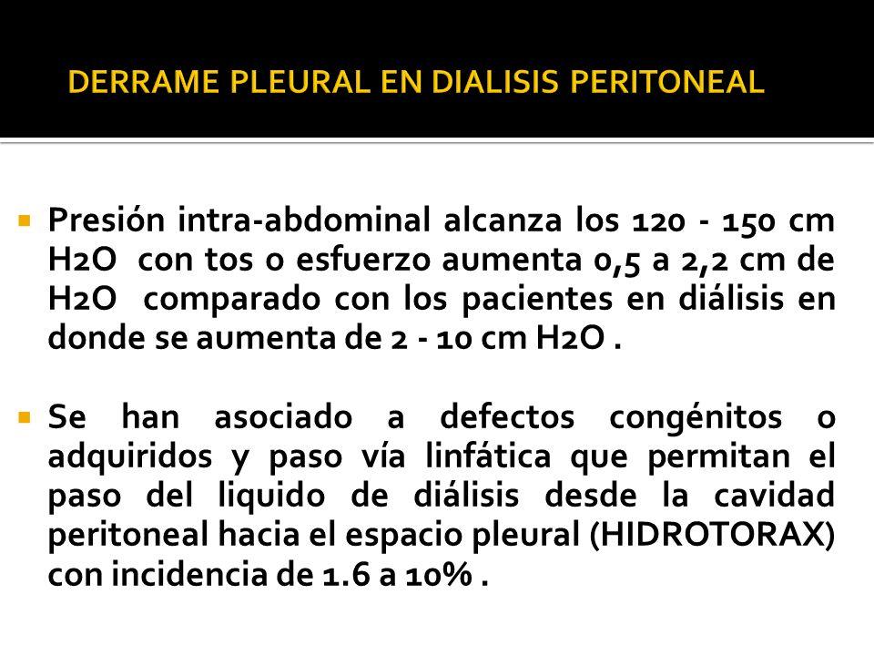 Presión intra-abdominal alcanza los 120 - 150 cm H2O con tos o esfuerzo aumenta 0,5 a 2,2 cm de H2O comparado con los pacientes en diálisis en donde s