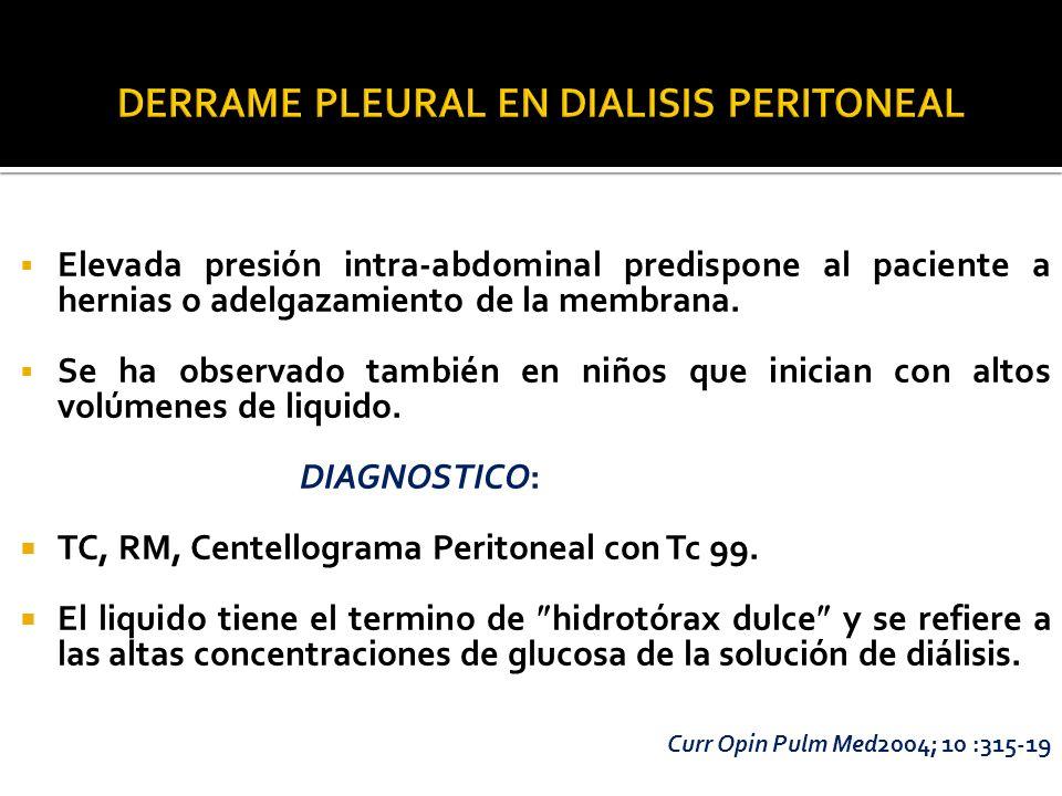 Elevada presión intra-abdominal predispone al paciente a hernias o adelgazamiento de la membrana. Se ha observado también en niños que inician con alt