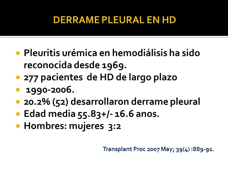 Pleuritis urémica en hemodiálisis ha sido reconocida desde 1969. 277 pacientes de HD de largo plazo 1990-2006. 20.2% (52) desarrollaron derrame pleura