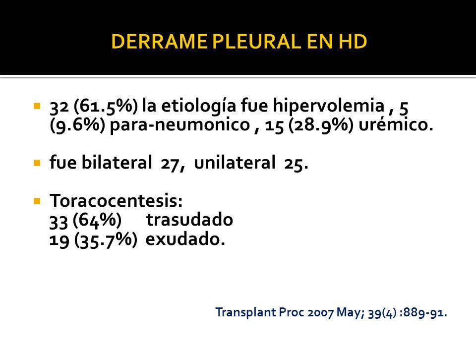 32 (61.5%) la etiología fue hipervolemia, 5 (9.6%) para-neumonico, 15 (28.9%) urémico. fue bilateral 27, unilateral 25. Toracocentesis: 33 (64%) trasu