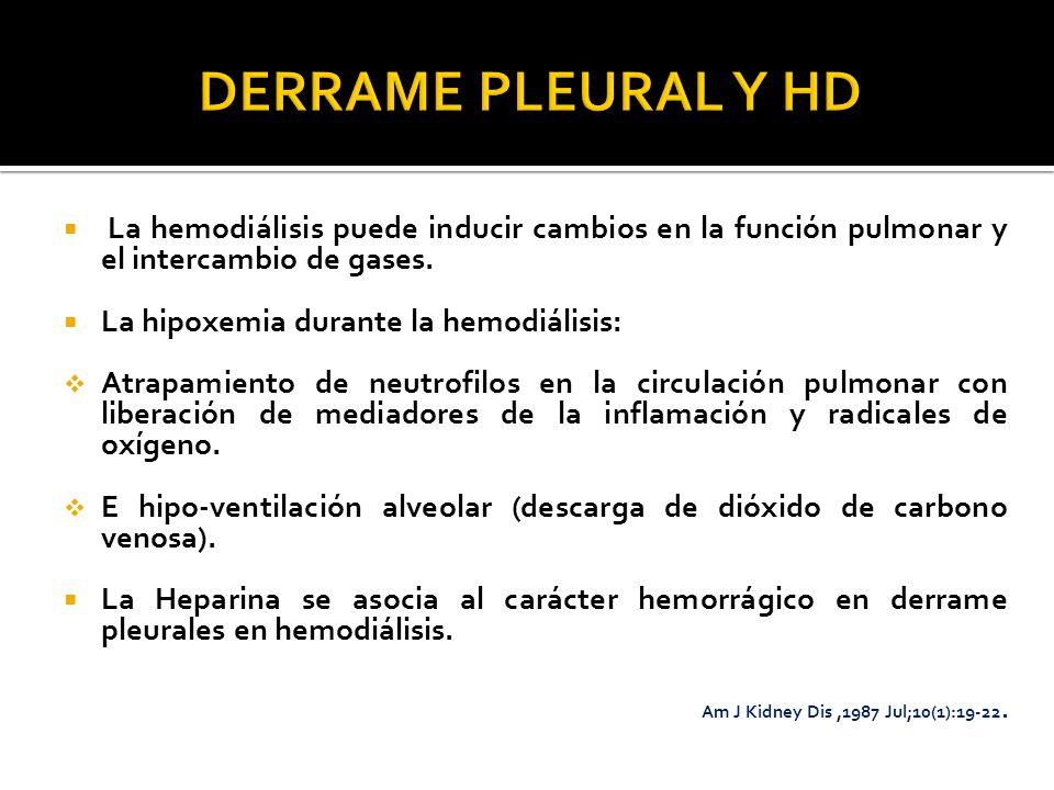 La hemodiálisis puede inducir cambios en la función pulmonar y el intercambio de gases. La hipoxemia durante la hemodiálisis: Atrapamiento de neutrofi
