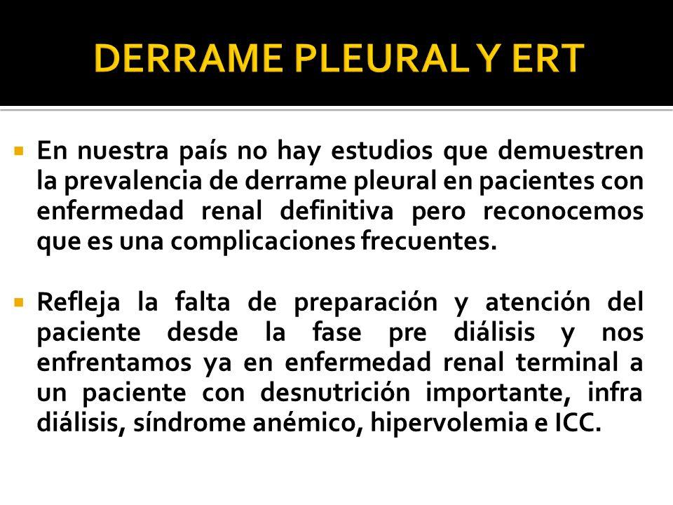 En nuestra país no hay estudios que demuestren la prevalencia de derrame pleural en pacientes con enfermedad renal definitiva pero reconocemos que es