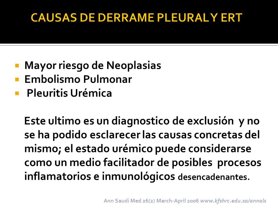 Mayor riesgo de Neoplasias Embolismo Pulmonar Pleuritis Urémica Este ultimo es un diagnostico de exclusión y no se ha podido esclarecer las causas con