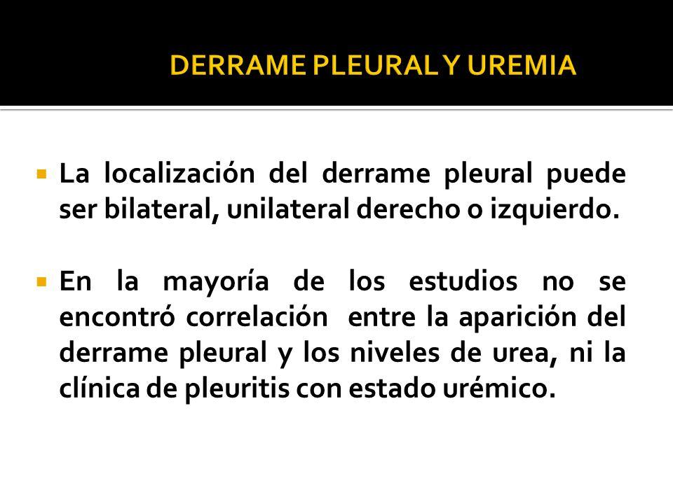 La localización del derrame pleural puede ser bilateral, unilateral derecho o izquierdo. En la mayoría de los estudios no se encontró correlación entr