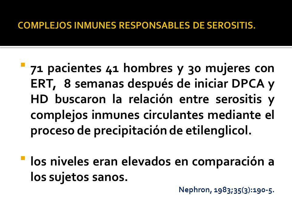 71 pacientes 41 hombres y 30 mujeres con ERT, 8 semanas después de iniciar DPCA y HD buscaron la relación entre serositis y complejos inmunes circulan