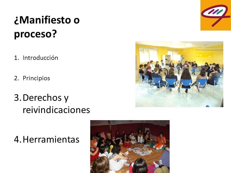 ¿Manifiesto o proceso? 1.Introducción 2.Principios 3.Derechos y reivindicaciones 4.Herramientas