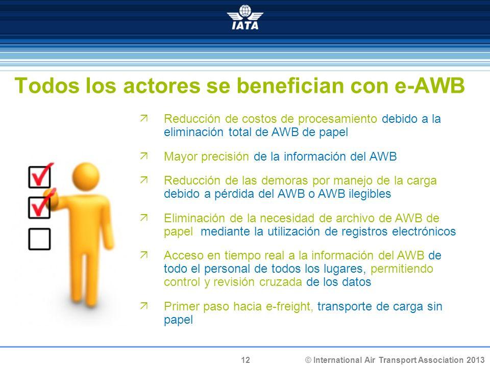 12 © International Air Transport Association 2013 Todos los actores se benefician con e-AWB Reducción de costos de procesamiento debido a la eliminaci