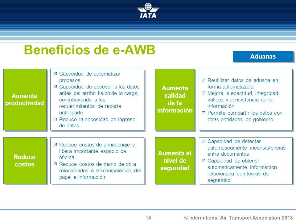 15 © International Air Transport Association 2013 Beneficios de e-AWB Aumenta productividad Capacidad de automatizar procesos Capacidad de acceder a l
