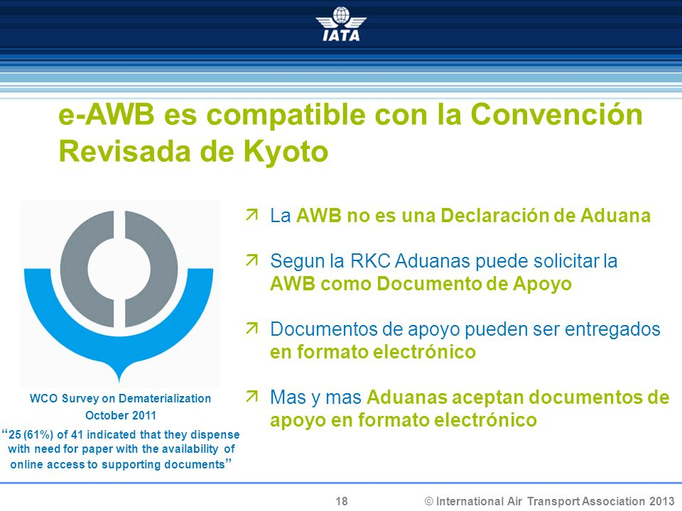 18 © International Air Transport Association 2013 e-AWB es compatible con la Convención Revisada de Kyoto La AWB no es una Declaración de Aduana Segun la RKC Aduanas puede solicitar la AWB como Documento de Apoyo Documentos de apoyo pueden ser entregados en formato electrónico Mas y mas Aduanas aceptan documentos de apoyo en formato electrónico WCO Survey on Dematerialization October 2011 25 (61%) of 41 indicated that they dispense with need for paper with the availability of online access to supporting documents