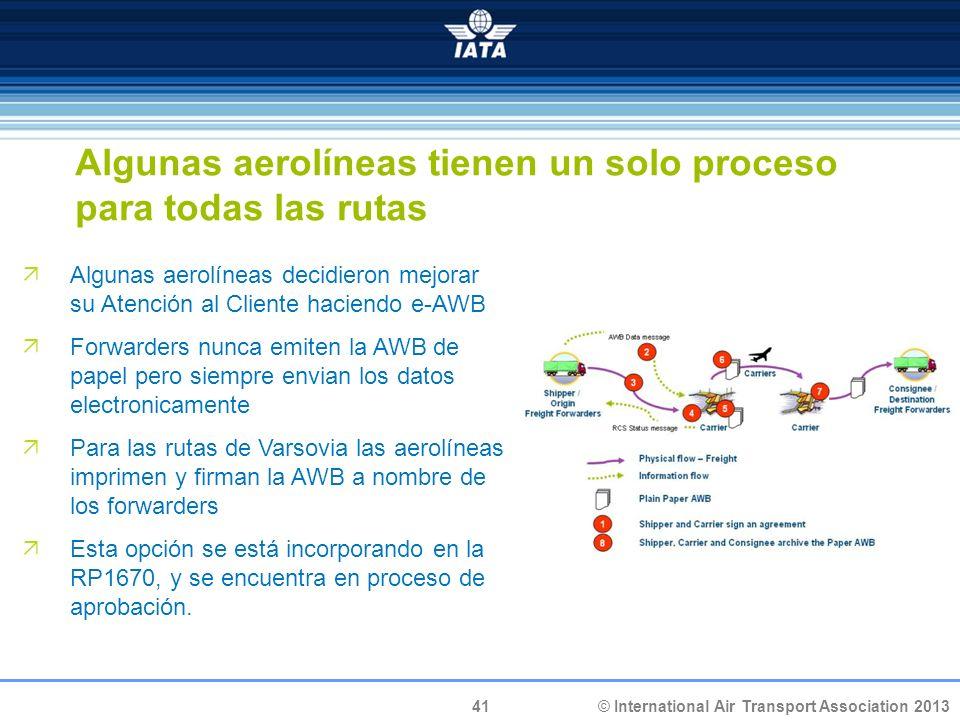 41 © International Air Transport Association 2013 Algunas aerolíneas tienen un solo proceso para todas las rutas Algunas aerolíneas decidieron mejorar