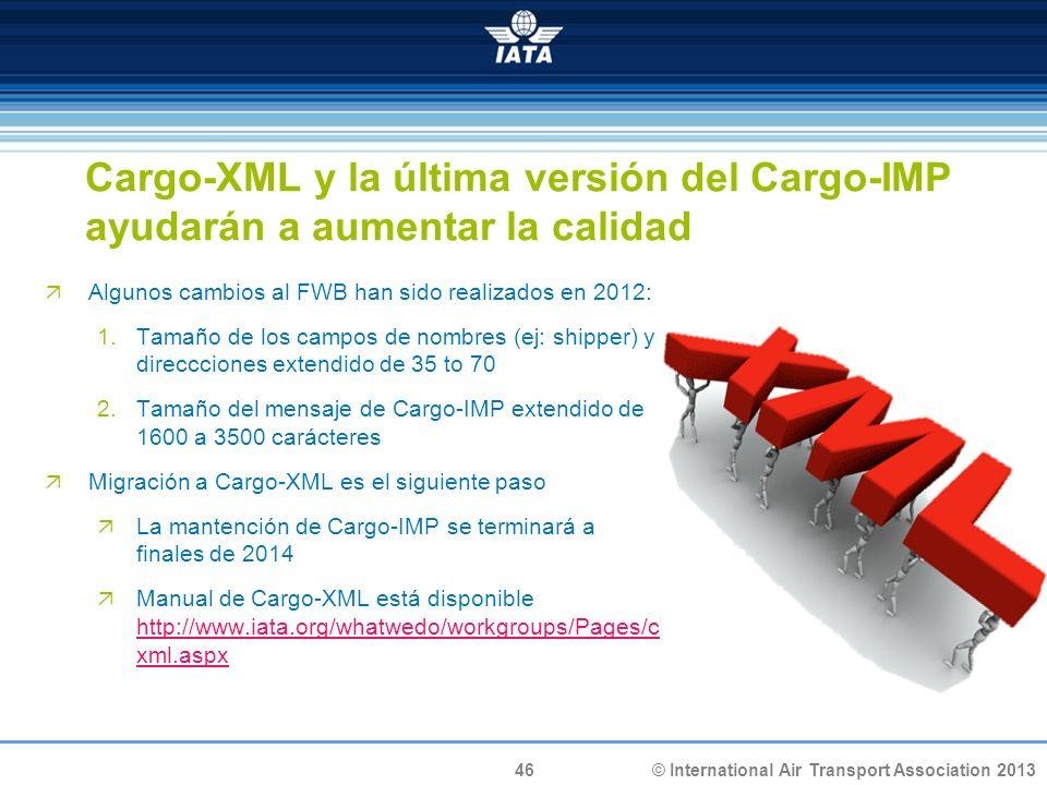 © International Air Transport Association 2013 46 Cargo-XML y la última versión del Cargo-IMP ayudarán a aumentar la calidad Algunos cambios al FWB ha