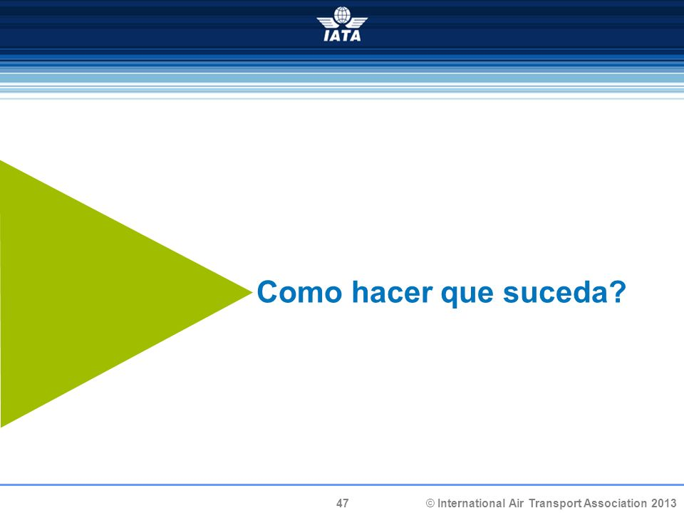 47 © International Air Transport Association 2013 Como hacer que suceda?