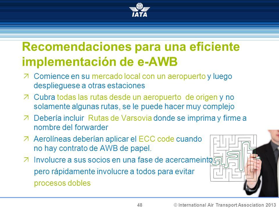 © International Air Transport Association 2013 48 Recomendaciones para una eficiente implementación de e-AWB Comience en su mercado local con un aerop