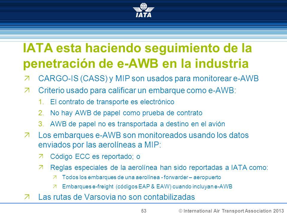 53 © International Air Transport Association 2013 IATA esta haciendo seguimiento de la penetración de e-AWB en la industria CARGO-IS (CASS) y MIP son