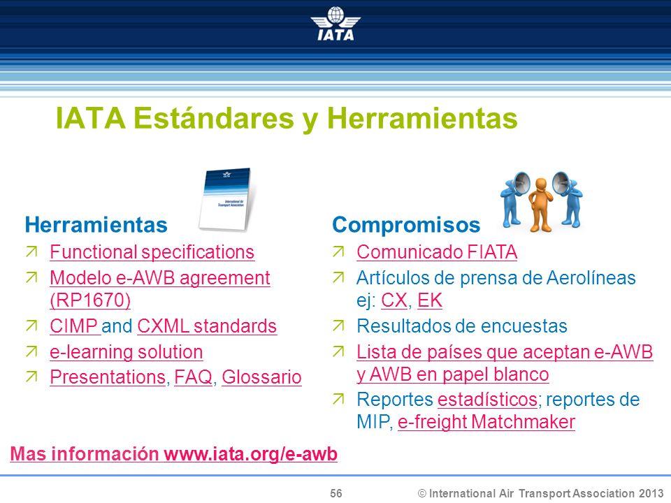 56 © International Air Transport Association 2013 IATA Estándares y Herramientas Herramientas Functional specifications Modelo e-AWB agreement (RP1670