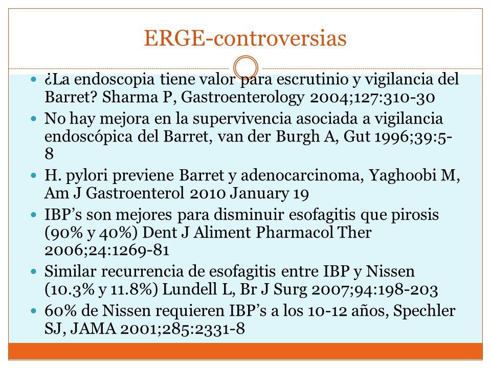 ERGE-controversias ¿La endoscopia tiene valor para escrutinio y vigilancia del Barret? Sharma P, Gastroenterology 2004;127:310-30 No hay mejora en la