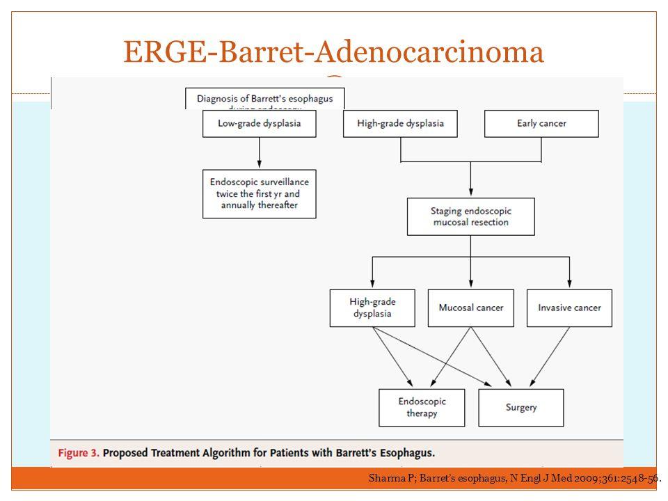 ERGE-Barret-Adenocarcinoma Sharma P; Barrets esophagus, N Engl J Med 2009;361:2548-56.