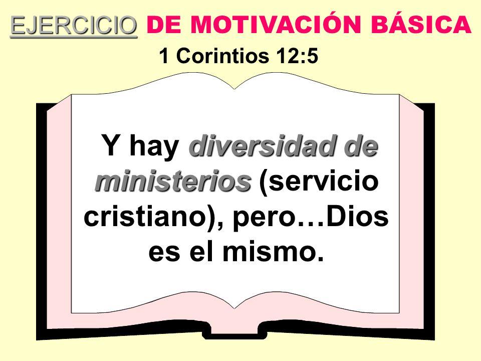 diversidad de ministerios Y hay diversidad de ministerios (servicio cristiano), pero…Dios es el mismo. EJERCICIO EJERCICIO DE MOTIVACIÓN BÁSICA 1 Cori