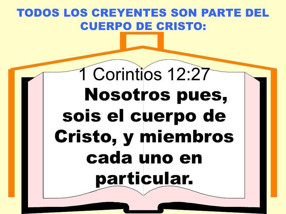 LA IGLESIA LOCAL TODOS LOS CREYENTES SON PARTE DEL CUERPO DE CRISTO: 1 Corintios 12:27 Nosotros pues, sois el cuerpo de Cristo, y miembros cada uno en particular.