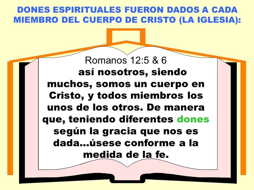 LA IGLESIA LOCAL DONES ESPIRITUALES FUERON DADOS A CADA MIEMBRO DEL CUERPO DE CRISTO (LA IGLESIA): Romanos 12:5 & 6 así nosotros, siendo muchos, somos un cuerpo en Cristo, y todos miembros los unos de los otros.